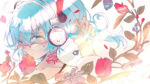 Rating: Safe Score: 35 Tags: close flowers glasses hatsune_miku headphones heremia sketch vocaloid User: FormX