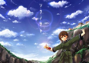 Rating: Safe Score: 18 Tags: brown_eyes brown_hair short_hair sky sora_no_woto sorami_kanata uniform User: jironimo
