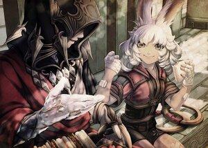 Rating: Safe Score: 18 Tags: animal_ears bandaid bunny_ears crystal_exarch final_fantasy final_fantasy_xiv food gray_eyes long_hair lyna_(ffxiv) mihira_(tainosugatayaki) shorts weapon white_hair User: SciFi