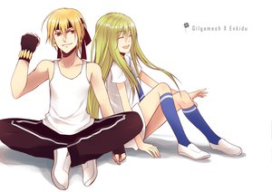 Rating: Safe Score: 16 Tags: acelolo blonde_hair dress enkidu fate/stay_night fate/strange_fake fate/zero gilgamesh gloves green_hair long_hair red_eyes short_hair User: Maboroshi