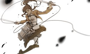 Rating: Safe Score: 76 Tags: boots brown_eyes brown_hair kiu ponytail sasha_browse shingeki_no_kyojin sword weapon white User: FormX