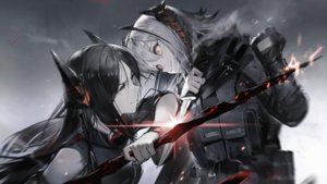 Rating: Safe Score: 48 Tags: 2girls arknights black_hair cape game_cg gloves gradient gray_hair horns ines_(arknights) knife liduke long_hair orange_eyes pantyhose polychromatic short_hair w_(arknights) yellow_eyes User: Nepcoheart