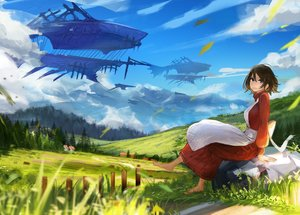 Rating: Safe Score: 23 Tags: airship apron barefoot blue_eyes brown_hair clouds hirokima original scenic short_hair sky User: RyuZU