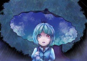 Rating: Safe Score: 64 Tags: bicolored_eyes blue_hair blush lif_(lif-ppp) rain short_hair tatara_kogasa touhou umbrella water User: SonicBlue