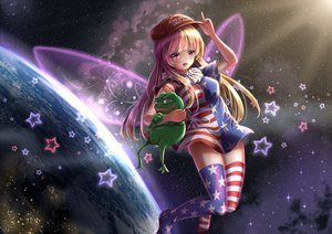 Rating: Safe Score: 75 Tags: animal blonde_hair clownpiece fairy fii_fii_(feefeeowo) frog hat pepe_(frog) red_eyes space thighhighs touhou wings User: gnarf1975