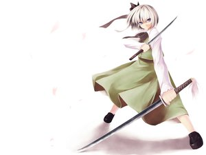 Rating: Safe Score: 13 Tags: katana konpaku_youmu petals sword touhou weapon white User: 秀悟