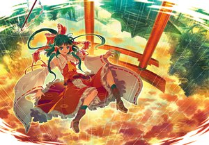 Rating: Safe Score: 81 Tags: blue_eyes blue_hair boots bow clouds hakurei_reimu japanese_clothes long_hair miko rain ribbons sky socks torii touhou water zounose User: FormX