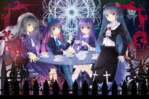 Rating: Safe Score: 19 Tags: akemi_homura black_hair cake dress drink flowers food frederica_bernkastel gokou_ruri long_hair mahou_shoujo_madoka_magica ore_no_imouto_ga_konna_ni_kawaii_wake_ga_nai panty_&_stocking_with_garterbelt purple_eyes purple_hair red_hair ribbons stocking_(character) umineko_no_naku_koro_ni User: Freenight