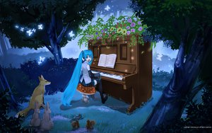 Rating: Safe Score: 34 Tags: animal butterfly forest fox grass hatsune_miku instrument maca mikumix piano rabbit tree vocaloid User: kn8485909