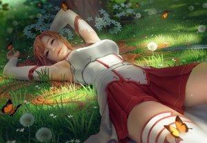 Rating: Safe Score: 179 Tags: butterfly flowers grass green long_hair realistic sword_art_online thighhighs yuuki_asuna zarory User: BattlequeenYume
