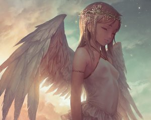Rating: Safe Score: 211 Tags: angel blonde_hair breasts clouds cropped erect_nipples headdress loli no_bra original popobobo short_hair sky wings User: RyuZU