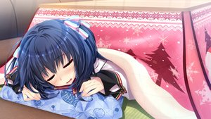 Rating: Safe Score: 32 Tags: blue_hair clochette game_cg kokorone=pendulum! kotatsu oshiki_hitoshi sleeping tatenokawa_tsumuri User: FormX