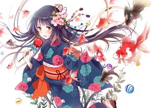 Rating: Safe Score: 71 Tags: animal apple black_hair candy fish flowers food fruit green_eyes japanese_clothes long_hair original white yatomi yukata User: RyuZU