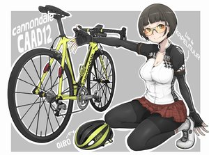 Rating: Safe Score: 26 Tags: bicycle black_hair breasts brown_eyes cleavage gloves goggles ina_(gokihoihoi) original short_hair skirt socks User: otaku_emmy