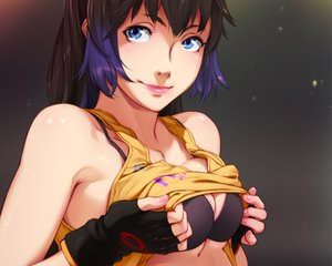 Rating: Safe Score: 99 Tags: blue_eyes bra breast_hold breasts close cropped feguimel gloves long_hair original purple_hair shirt_lift underwear User: RyuZU