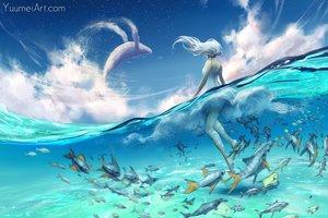 Rating: Safe Score: 74 Tags: animal clouds dress fish long_hair original sky water watermark wenqing_yan_(yuumei_art) white_hair User: SciFi