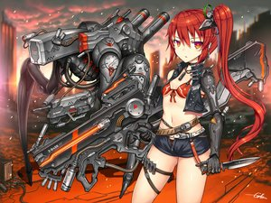 Rating: Safe Score: 29 Tags: bikini_top gia gun knife long_hair orange_eyes original ponytail red_hair shorts signed techgirl weapon User: SciFi