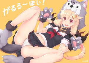 Rating: Questionable Score: 76 Tags: adam700403 anal anthropomorphism blonde_hair blush cameltoe cosplay fang gloves hoodie kantai_collection long_hair navel orange panties red_eyes school_uniform signed skirt spread_legs tail twintails underwear wolfgirl yuudachi_(kancolle) User: BattlequeenYume