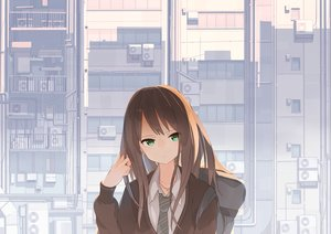 Rating: Safe Score: 126 Tags: brown_hair building green_eyes idolmaster idolmaster_cinderella_girls long_hair necklace polychromatic school_uniform shibuya_rin tie tomioka_jirou User: Flandre93