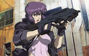 Rating: Safe Score: 45 Tags: ghost_in_the_shell gun kusanagi_motoko red_eyes weapon User: Oyashiro-sama