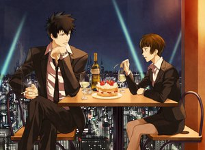 Rating: Safe Score: 62 Tags: black_hair blue_eyes brown_eyes brown_hair cake cigarette city drink food kougami_shinya psycho-pass rontaso short_hair suit tie tsunemori_akane User: STORM