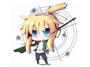 Rating: Safe Score: 40 Tags: blonde_hair blue_eyes chibi gun iris_(material_sniper) material_sniper reku weapon white User: anaraquelk2