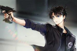 Rating: Safe Score: 25 Tags: all_male black_hair blue_eyes detective_conan gun joypyonn kudou_shinichi male short_hair waifu2x weapon User: otaku_emmy