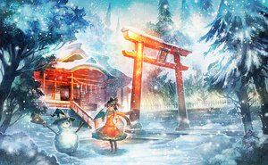 Rating: Safe Score: 96 Tags: boots bow brown_hair dress hakurei_reimu hat japanese_clothes miko scarf short_hair snow snowman torii touhou tree winter witch_hat zounose User: opai