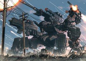 Rating: Safe Score: 58 Tags: clouds combat_vehicle gun mecha military nobody original rapama sky weapon User: RyuZU