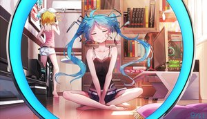 Rating: Safe Score: 133 Tags: 2girls aqua_hair bai_yemeng barefoot blonde_hair book computer game_console hatsune_miku kagamine_rin long_hair phone short_hair shorts signed twintails vocaloid User: RyuZU