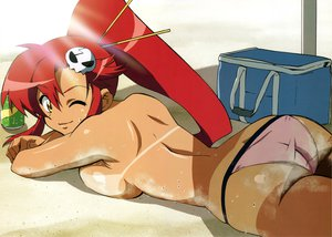 Rating: Questionable Score: 213 Tags: ass bikini ponytail red_hair swimsuit tan_lines tengen_toppa_gurren_lagann topless wet wink yellow_eyes yoko_littner User: Wiresetc
