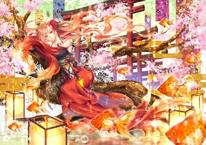 Rating: Safe Score: 12 Tags: aliasing animal blonde_hair brown_eyes bubbles cherry_blossoms fish flowers japanese_clothes kirisita long_hair original torii tree underwater water User: RyuZU