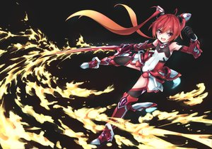 Rating: Safe Score: 31 Tags: bodysuit elbow_gloves fire gloves long_hair mitsuka_souji ore_twintail_ni_narimasu pink_eyes red_hair sword tagme_(artist) tail_red thighhighs twintails weapon User: luckyluna