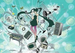 Rating: Safe Score: 24 Tags: azuma_shou butterfly computer dress green_eyes green_hair hatsune_miku instrument long_hair microphone piano twintails vocaloid User: RyuZU