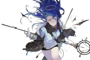 Rating: Safe Score: 45 Tags: arknights blue_eyes blue_hair blush gloves halo horns kuroduki mostima_(arknights) shorts staff white User: Maboroshi