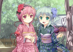 Rating: Safe Score: 98 Tags: 2girls flowers green_eyes green_hair japanese_clothes kimono komeiji_koishi komeiji_satori pink_eyes pink_hair rasahan touhou tree User: opai