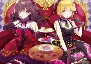 Rating: Safe Score: 79 Tags: 2girls blonde_hair brown_hair cake couch dress elbow_gloves food fruit garter_belt gloves gray_eyes green_eyes ichinose_shiki idolmaster idolmaster_cinderella_girls lolita_fashion long_hair miyamoto_frederica petals saine_(artist) short_hair strawberry User: RyuZU