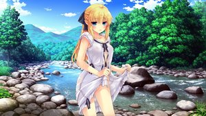 Rating: Questionable Score: 90 Tags: blonde_hair blue_eyes dress erect_nipples forest landscape makita_yoshiharu no_bra nopan open_shirt photoshop pointed_ears ponytail scenic see_through skirt_lift summer_dress tree undressing water User: gnarf1975
