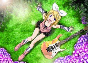 Rating: Safe Score: 103 Tags: boots cleavage flowers guitar instrument kagamine_rin kuromayu purple_eyes skirt vocaloid User: MissBMoon