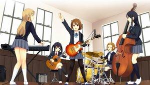 Rating: Safe Score: 81 Tags: akiyama_mio drums group guitar hirasawa_yui instrument jpeg_artifacts k-on! kotobuki_tsumugi long_hair munakata_(hisahige) nakano_azusa school_uniform short_hair tainaka_ritsu thighhighs wink User: gnarf1975