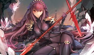 Rating: Safe Score: 138 Tags: bodysuit fate/grand_order fate_(series) gloves headdress ice_(ice_aptx) long_hair purple_hair red_eyes scathach_(fate/grand_order) skintight spear sword weapon User: RyuZU