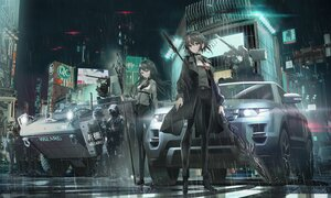 Rating: Safe Score: 55 Tags: black_eyes black_hair building city gray_eyes gun long_hair military night original police rain short_hair staff swav water weapon User: SciFi