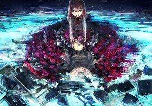Rating: Safe Score: 82 Tags: book flowers gary_(ib) ib ib_(ib) nolife purple_hair red_eyes red_hair rose sleeping water User: FormX