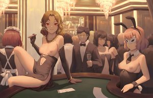Rating: Questionable Score: 75 Tags: animal_ears bigrbear bow breasts brown_hair bunny_ears bunnygirl cigarette dress drink elbow_gloves gloves maid male navel nipples nopan original phone pointed_ears red_eyes short_hair smoking suit tie wristwear User: RyuZU