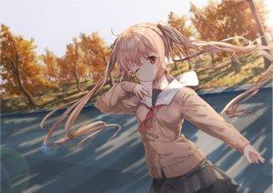 Rating: Safe Score: 46 Tags: anthropomorphism autumn blonde_hair daitai_sotogawa_(futomomo) kantai_collection long_hair murasame_(kancolle) red_eyes seifuku skirt sky tree twintails wink User: BattlequeenYume