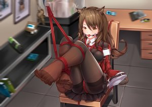 Rating: Questionable Score: 150 Tags: animal_ears arknights bondage brown_eyes brown_hair gag long_hair panties pantyhose rope see_through skirt skyfire_(arknights) underwear yiduan_zhu User: RyuZU