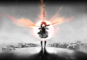 Rating: Safe Score: 54 Tags: city original red_hair wings User: SciFi