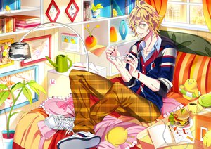 Rating: Safe Score: 20 Tags: blonde_hair book food glasses green_eyes shinomiya_natsuki uta_no_prince-sama yuna_(rutera) User: opai