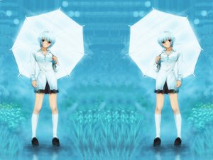 Rating: Safe Score: 6 Tags: ayanami_rei kobayashi_yuji neon_genesis_evangelion umbrella User: Oyashiro-sama