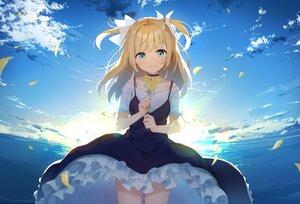 Rating: Safe Score: 89 Tags: aliasing aqua_eyes blonde_hair choker clouds dress emori_el emori_miku_project flowers long_hair nijihashi_sora petals sky sunset twintails water User: BattlequeenYume